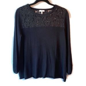 Joie Black Lace Overlay Crew Neck Sweater Black M